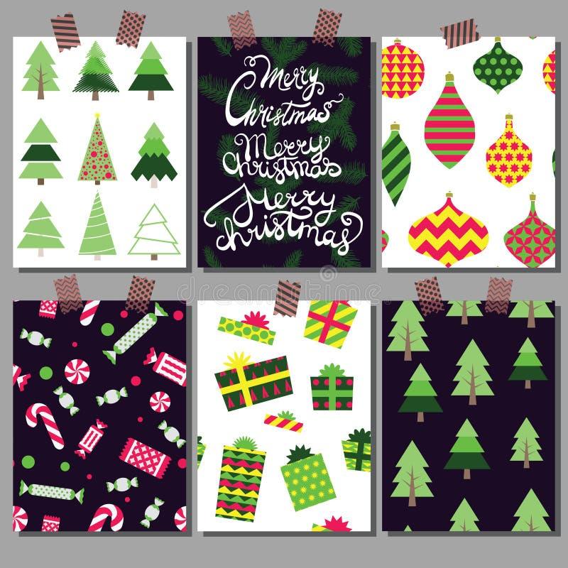 Colección del vector de plantillas del cartel de la Navidad Fije las tarjetas de felicitación Colores brillantes foto de archivo