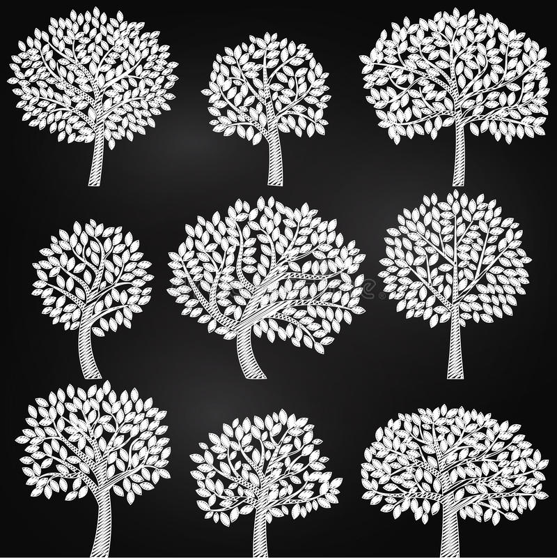 Download Colección Del Vector De Siluetas Del árbol Del Estilo De La Pizarra Ilustración del Vector - Ilustración de aislado, hoja: 41901237
