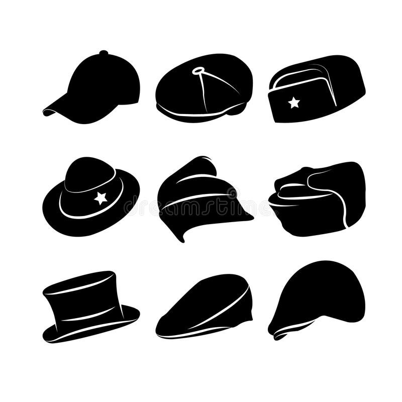 Colección del vector de sombreros del vintage ilustración del vector