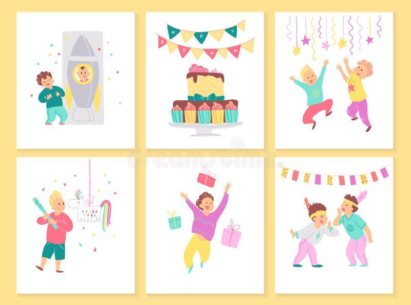 Colección del vector de tarjetas de la fiesta de cumpleaños de los muchachos con la torta de BD, las guirnaldas, los elementos de ilustración del vector