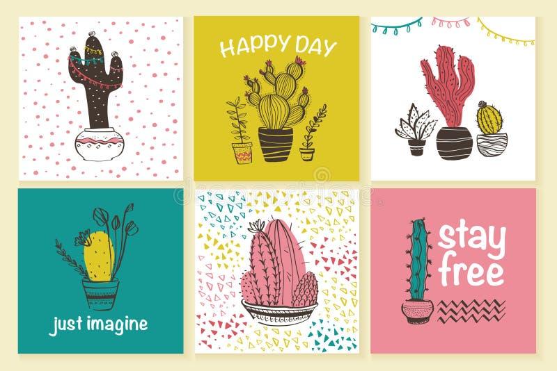 Colección del vector de tarjetas lindas con la mano dibujada para garabatear modelos y el cactus abstractos de moda en los potes  ilustración del vector