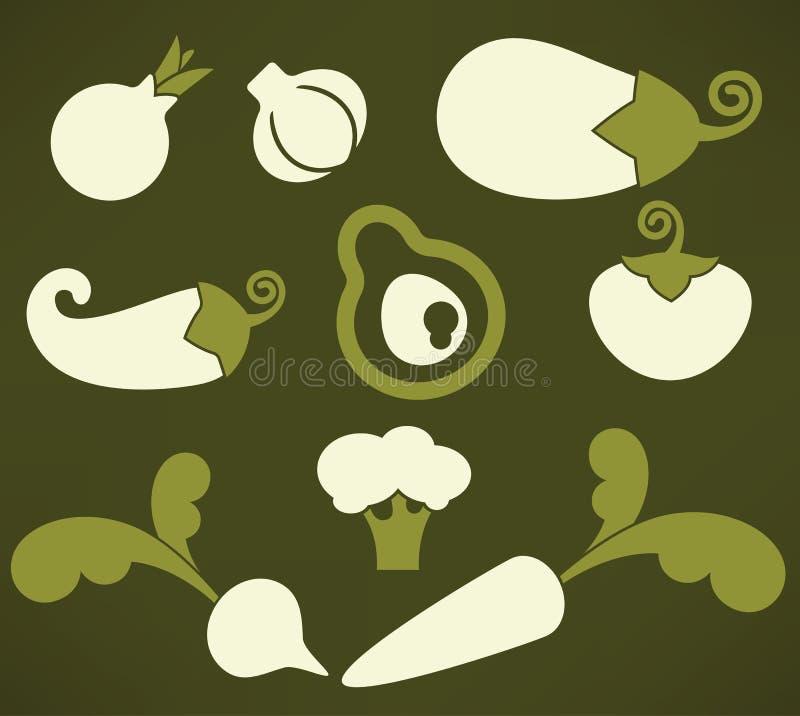 Colección del vector de verduras frescas de la granja ilustración del vector