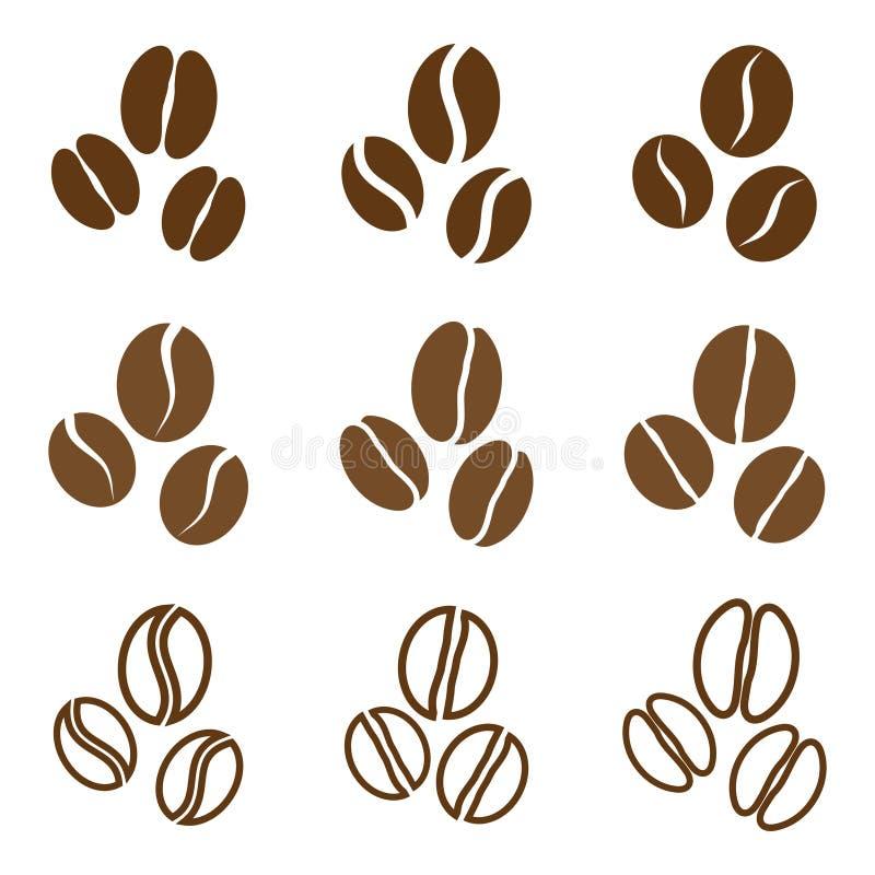 Colección del vector: granos de café imagen de archivo
