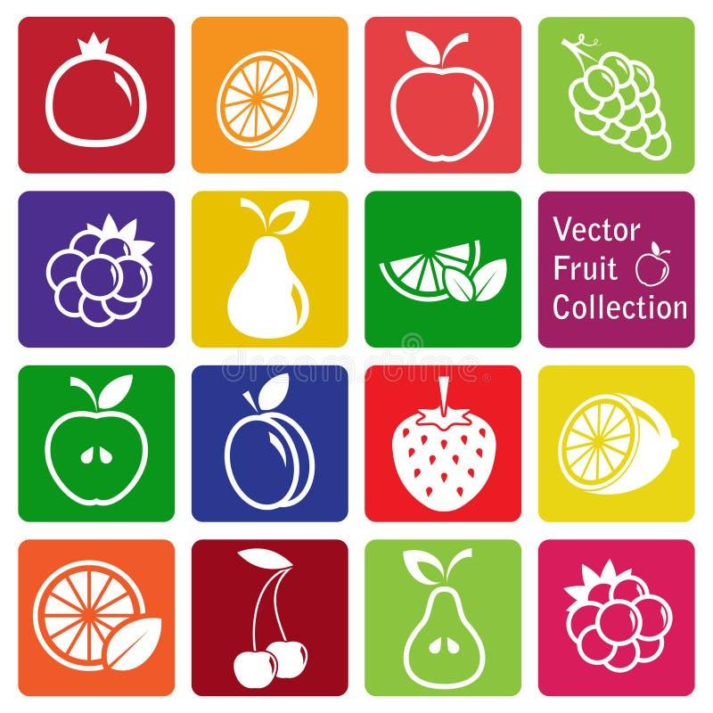 Colección del vector: iconos de la fruta imagenes de archivo