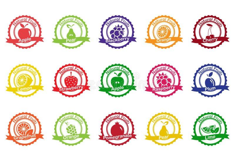 Colección del vector: iconos de la fruta stock de ilustración