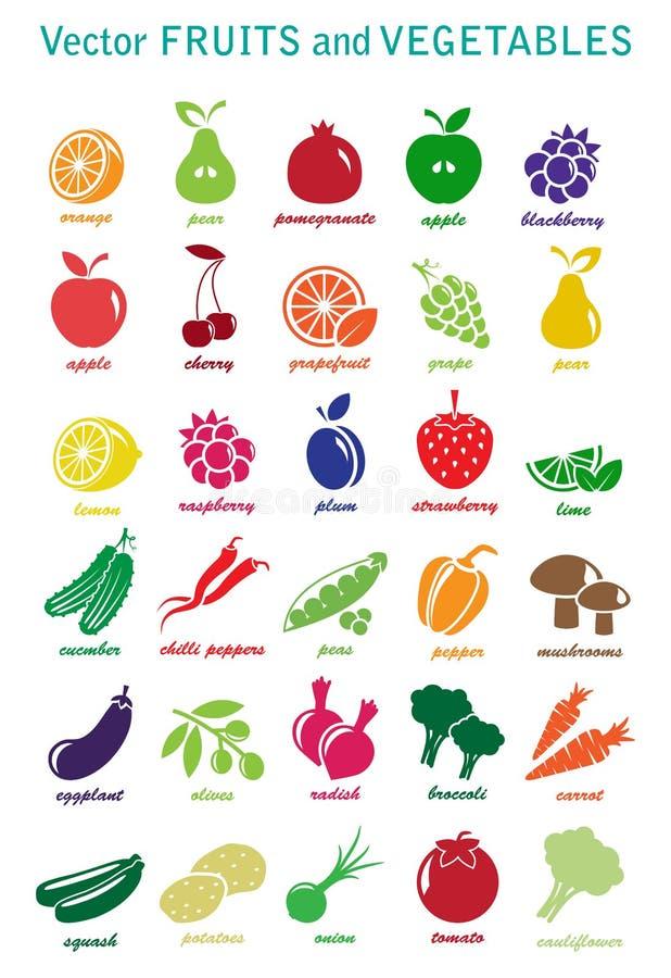 Colección del vector: iconos de las frutas y verduras ilustración del vector