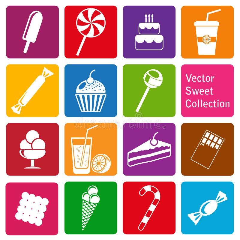 Colección del vector: iconos de los dulces ilustración del vector