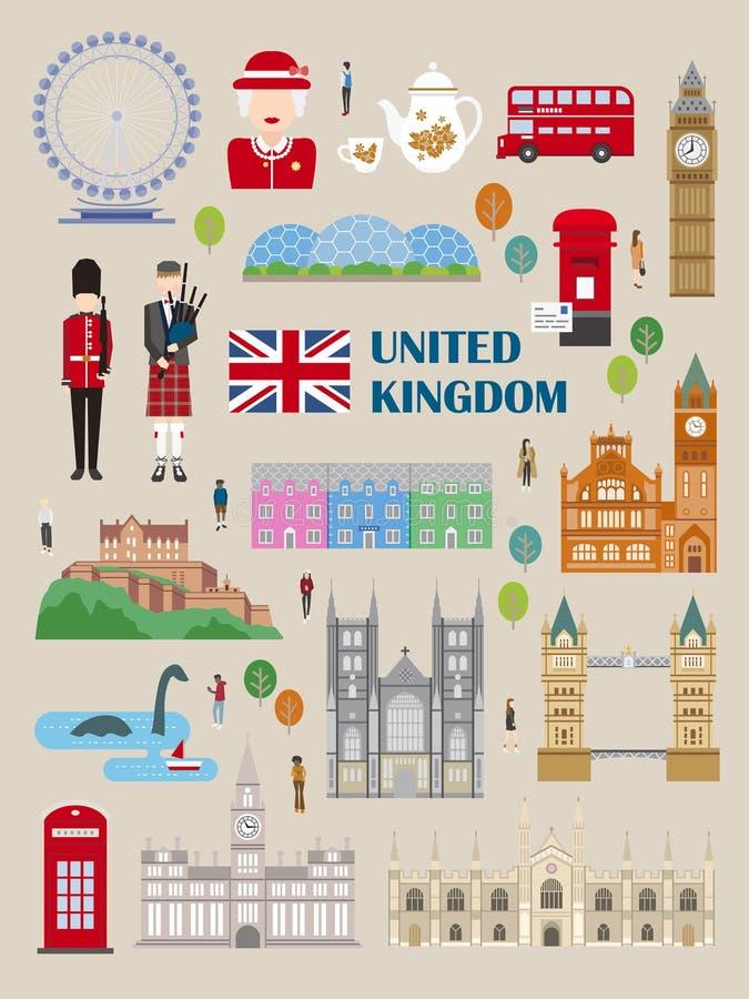Colección del viaje de Reino Unido ilustración del vector