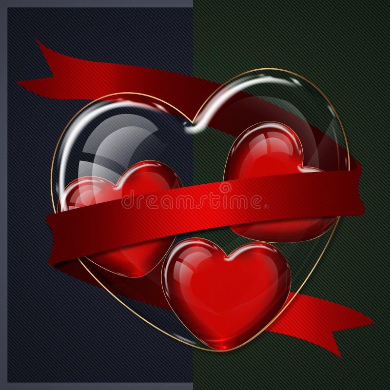 Colección del vidrio del corazón stock de ilustración