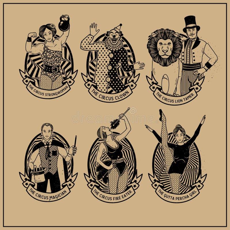 Colección del vintage del circo Lion Tamer, el payaso, la mujer fuerte del circo, el mago del circo, el fuego del circo stock de ilustración
