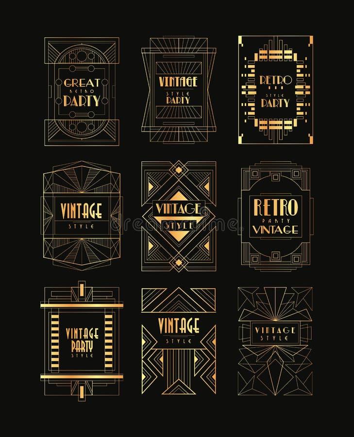 Colección del vintage de bastidores de oro de Art Deco Emblemas de lujo del vector para el logotipo del negocio, la tarjeta de la ilustración del vector