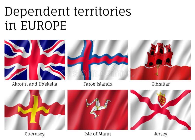 Colección dependiente del vector de la bandera de los territorios stock de ilustración