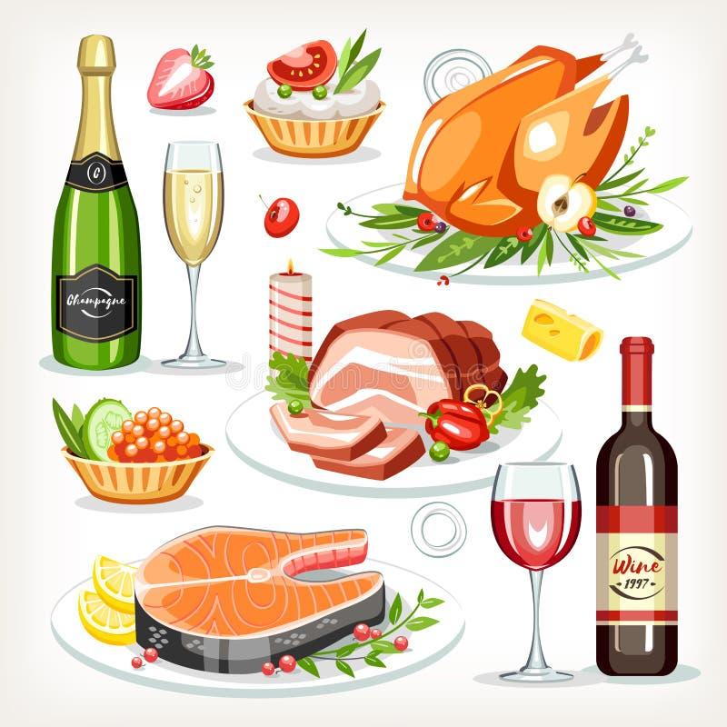 Colección determinada cocinada comida de la celebración festiva del día de fiesta de los platos stock de ilustración