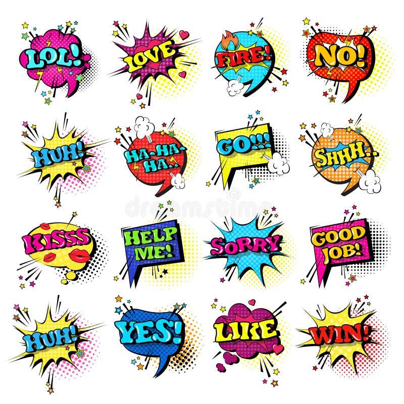 Colección determinada de los iconos de Art Style Sound Expression Text del estallido del discurso de la burbuja cómica de la char stock de ilustración