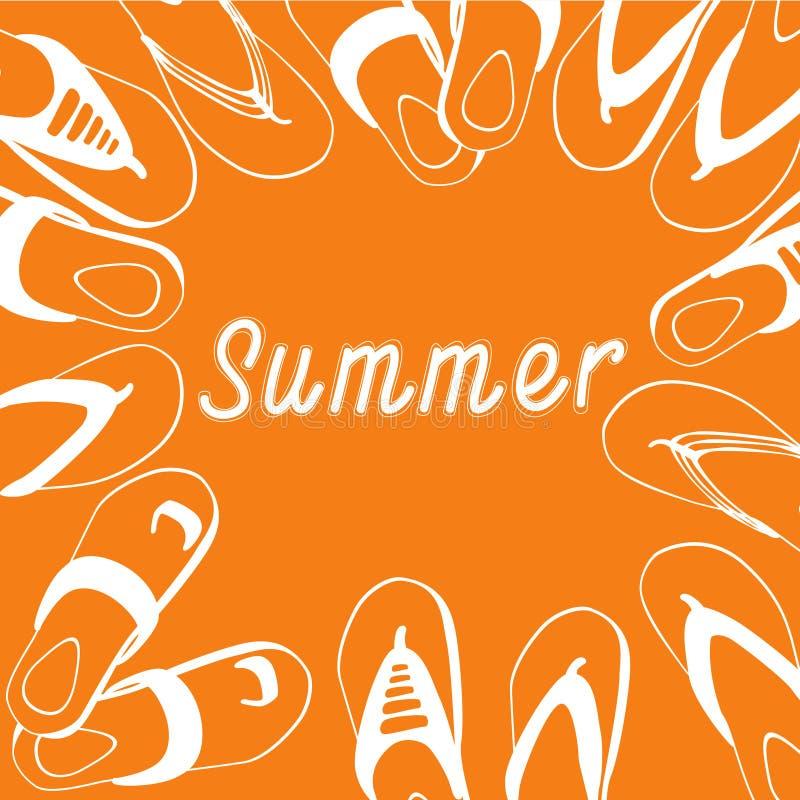 Colección determinada del desgaste del pie de Flip Flops Icon Summer Slippers stock de ilustración