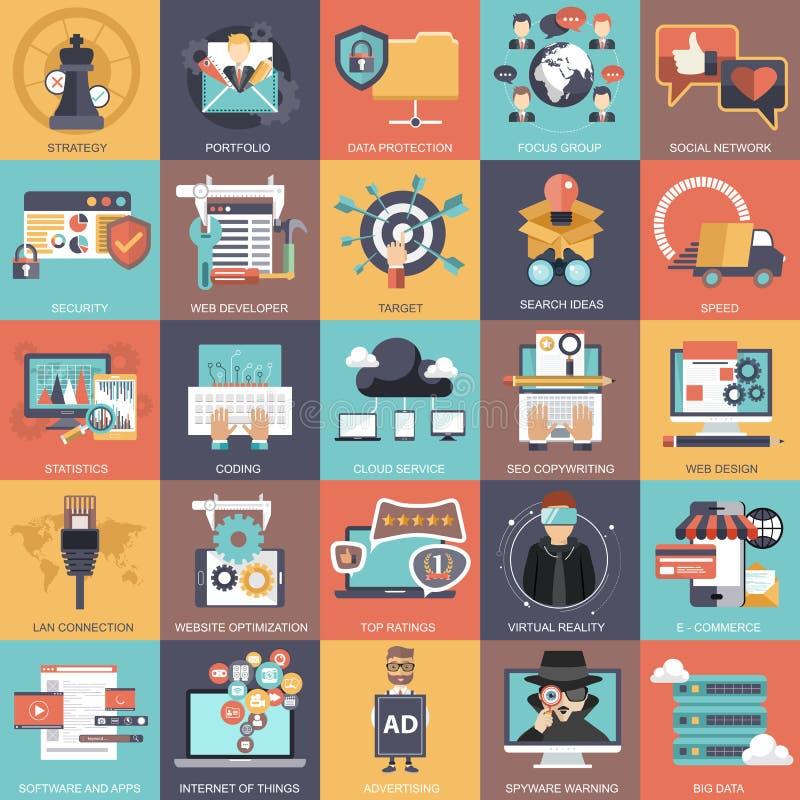 Colección determinada del icono del negocio, de la tecnología, de la gestión y de las finanzas stock de ilustración