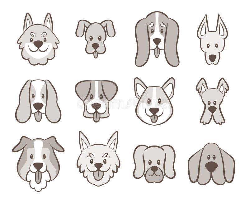 Colección dibujada mano de Avatar del perro ilustración del vector