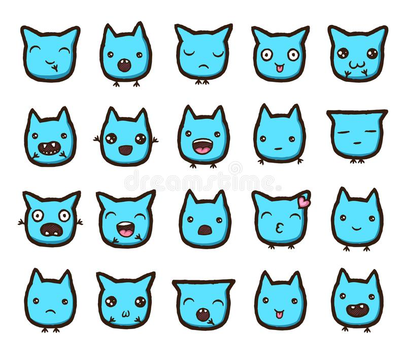Colección dibujada mano de los emoticons del vector libre illustration