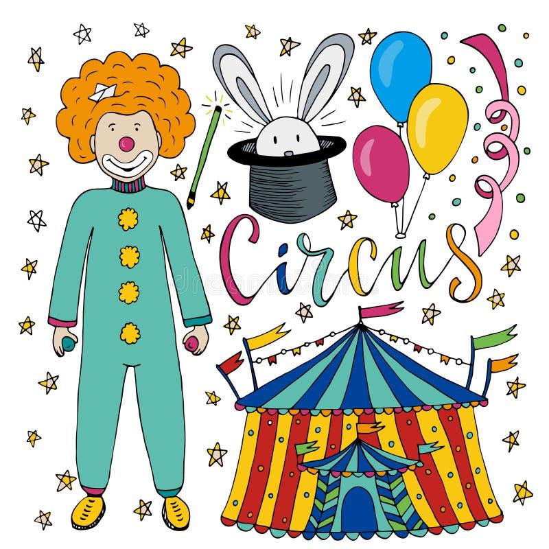 Colección dibujada mano del circo con el payaso, el globo, la tienda y el conejo coloridos de la magia Decoraciones del feliz cum stock de ilustración