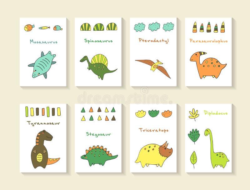 Colección dibujada mano linda de Dino del garabato ilustración del vector