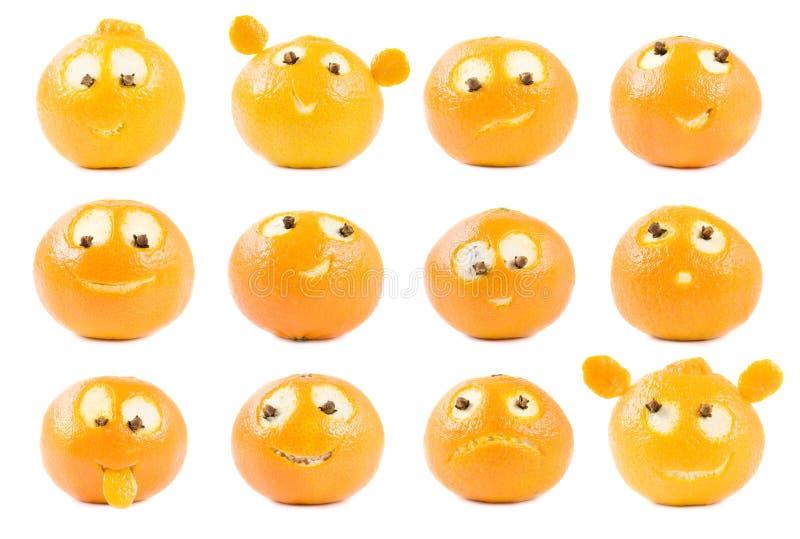 Colección divertida de las clementinas fotografía de archivo