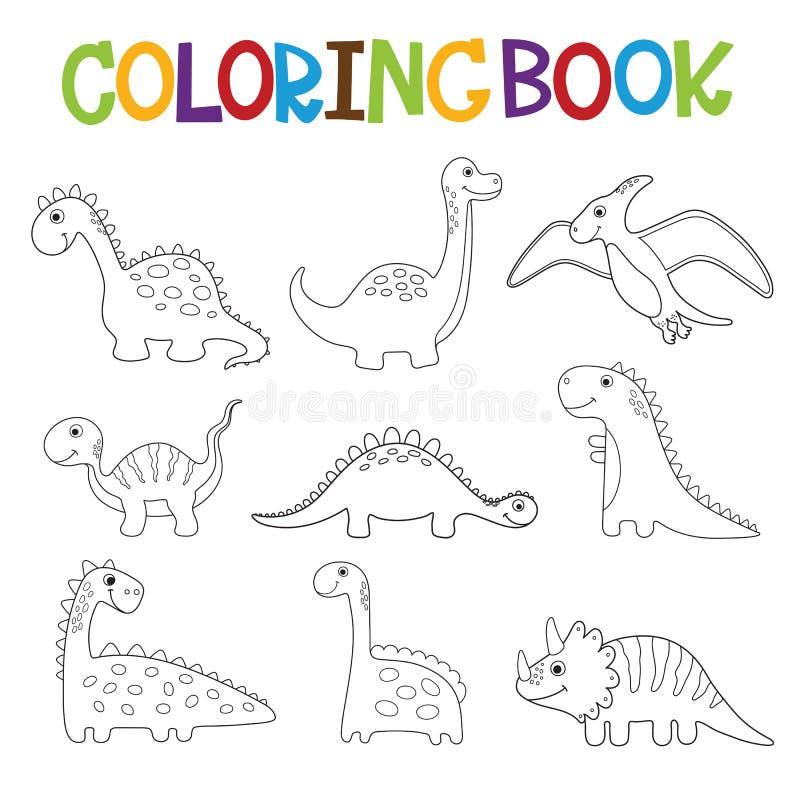Colección divertida de los dinosaurios de la historieta Libro de colorante ilustración del vector