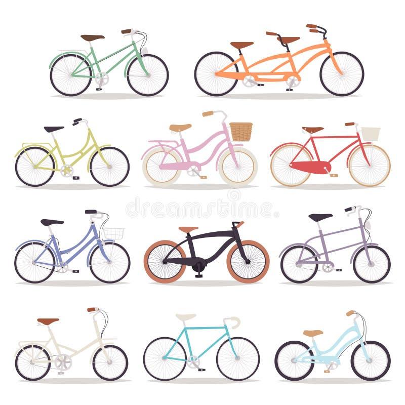 Colección ejemplo del transporte del diseño de la bici de las bicicletas del vector de viejo del vintage del estilo del diseño re stock de ilustración
