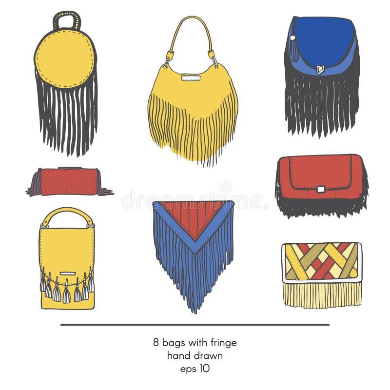 Colección elegante de 9 bolsos de la moda con la franja, aislada en el fondo blanco Ejemplo de color en rojo, amarillo y azul stock de ilustración