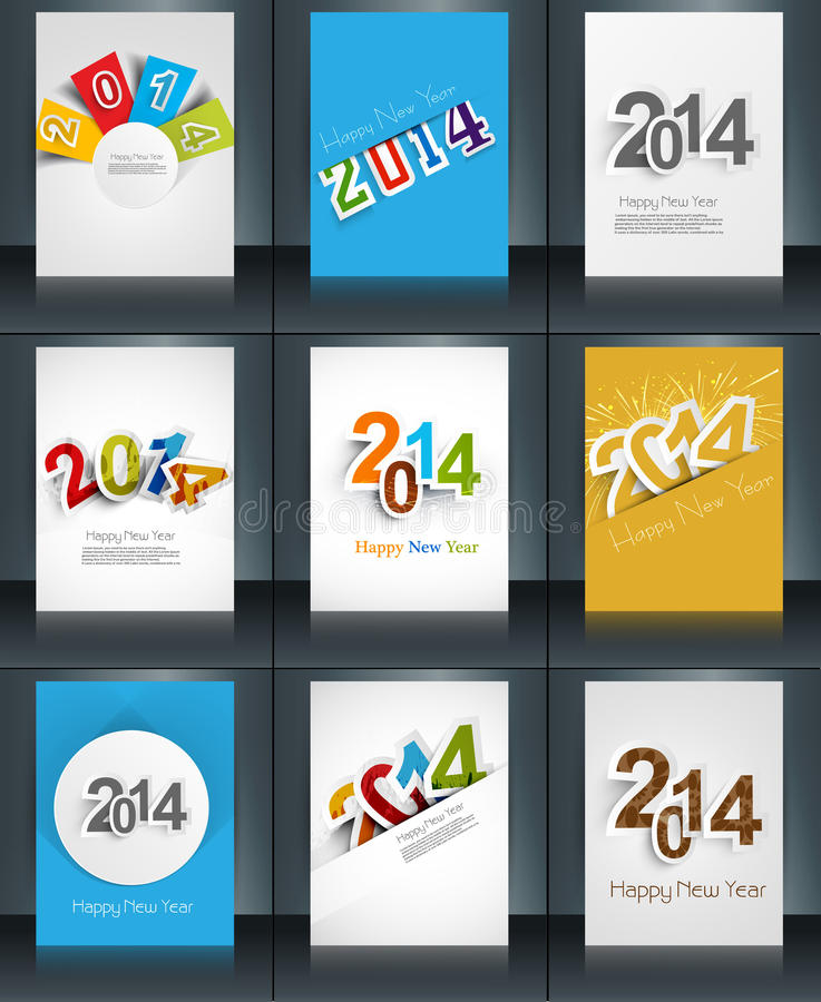 Colección elegante del folleto de la plantilla del texto del Año Nuevo 2014 libre illustration