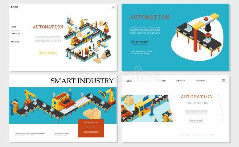 Colección elegante isométrica de los sitios web de la industria stock de ilustración