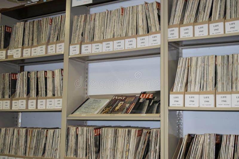 Colección en el museo del aire del Palm Springs, California de la revista de la VIDA fotos de archivo libres de regalías