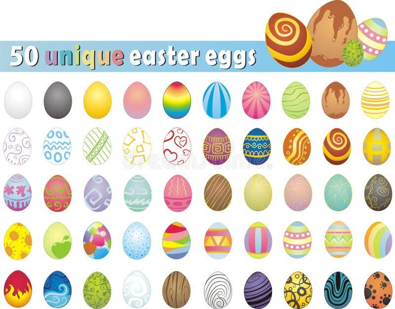 Colección enorme de 50 huevos de Pascua únicos ilustración del vector