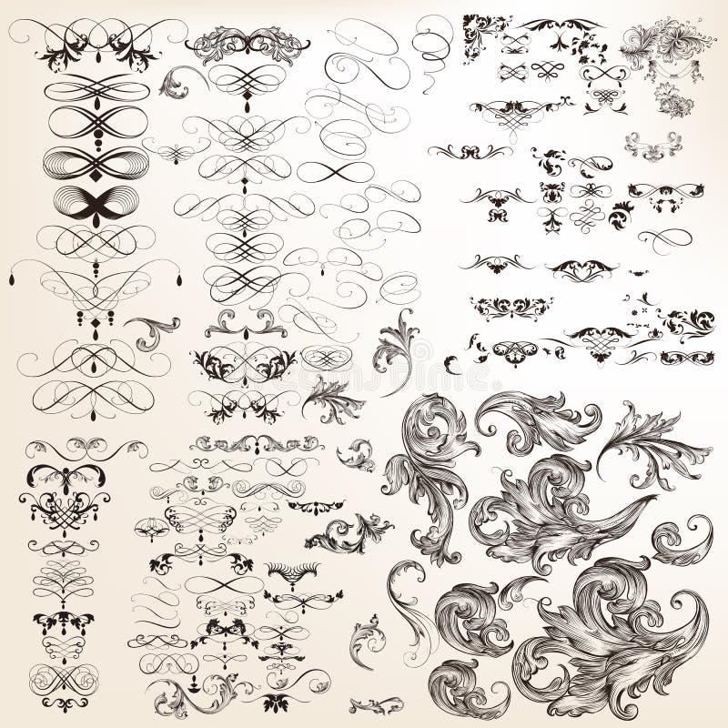 Colección enorme de flourishes caligráficos decorativos del vector para stock de ilustración