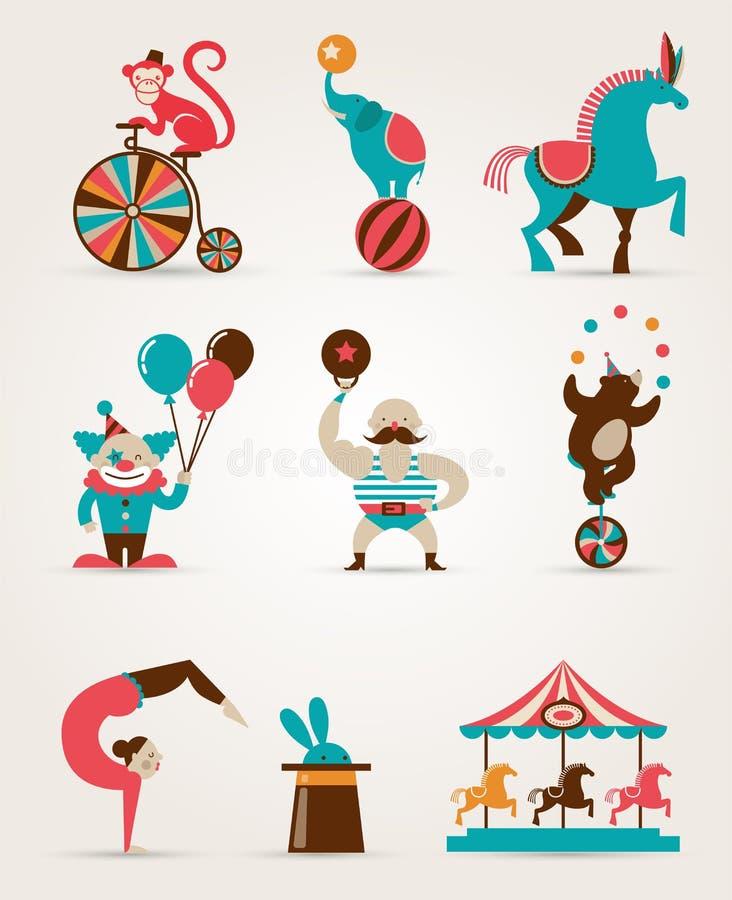 Colección enorme del circo del vintage con el carnaval, diversión libre illustration