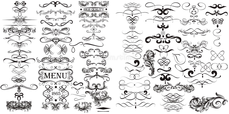 Colección enorme del vector elements1 caligráfico stock de ilustración