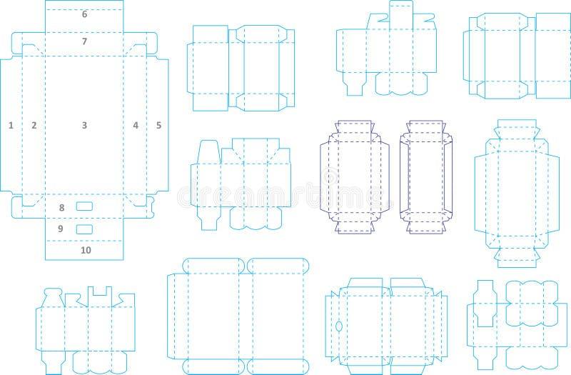 Colección 04 EPS de la plantilla de la caja ilustración del vector