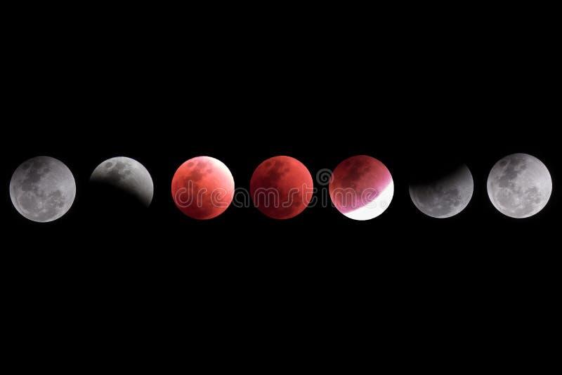 Colección estupenda de la cronología de la luna de la sangre azul imagen de archivo libre de regalías