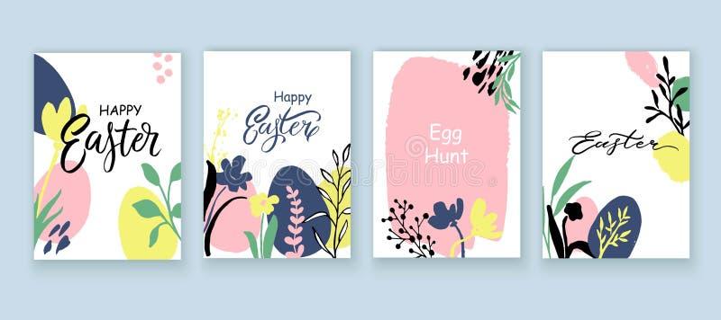 Colección exhausta de las tarjetas de pascua de la mano Plantilla de la tarjeta de la primavera con las flores, hojas, huevos stock de ilustración