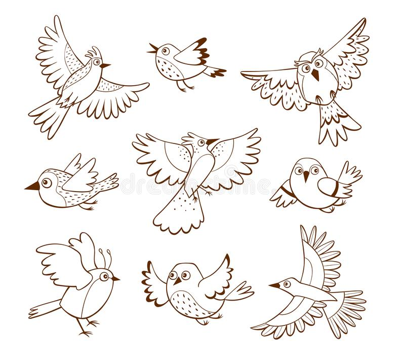 Colección exhausta del pájaro de vuelo de la mano libre illustration