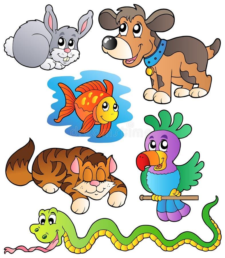 Colección feliz 1 de los animales domésticos stock de ilustración