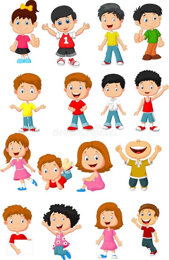 Colección feliz de la historieta del niño ilustración del vector