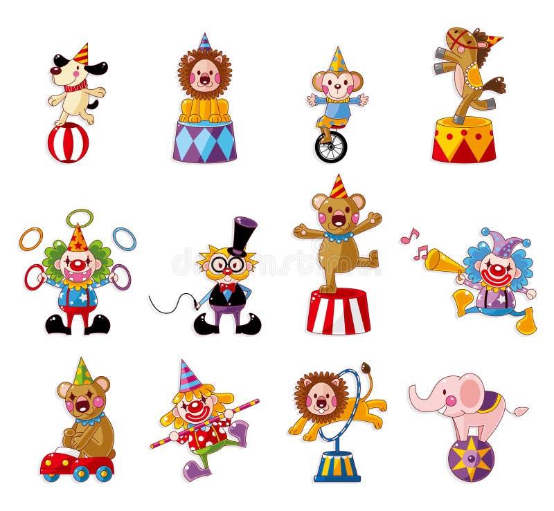 Colección feliz de los iconos de la demostración del circo de la historieta ilustración del vector