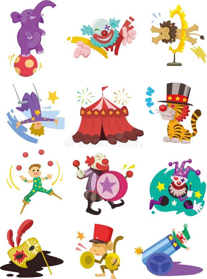Colección feliz de los iconos de la demostración del circo de la historieta stock de ilustración