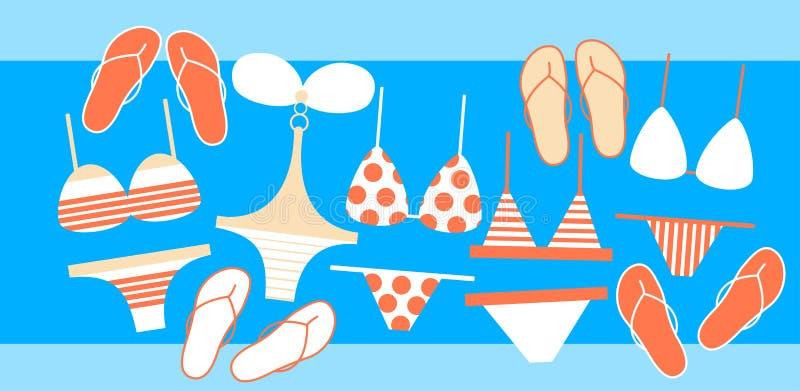 Colección Flip Flops Set Summer Vacation del desgaste de la nadada libre illustration