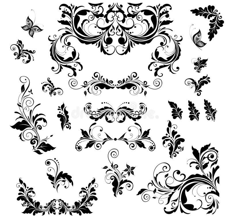 Colección floral de la decoración del vintage para casarse el diseño, títulos del libro, tarjeta de felicitación, invitaciones libre illustration