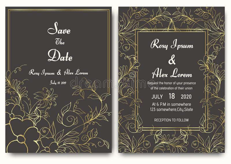 Colección floral de la plantilla de la tarjeta de la invitación de la boda libre illustration