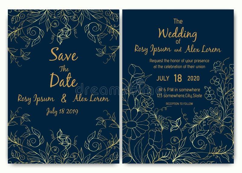 Colección floral de la plantilla de la tarjeta de la invitación de la boda ilustración del vector