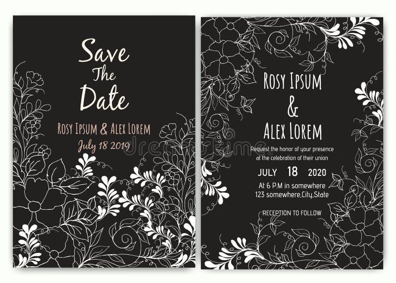Colección floral de la plantilla de la tarjeta de la invitación de la boda stock de ilustración