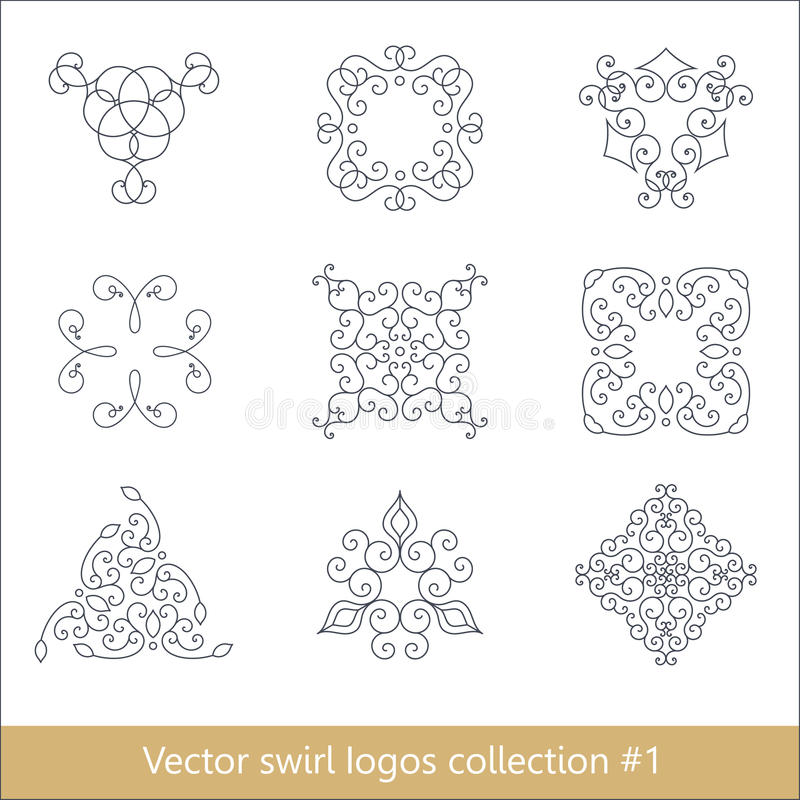 Colección floral de los logotipos Elementos del remolino para el diseño Línea fina ilustración del vector