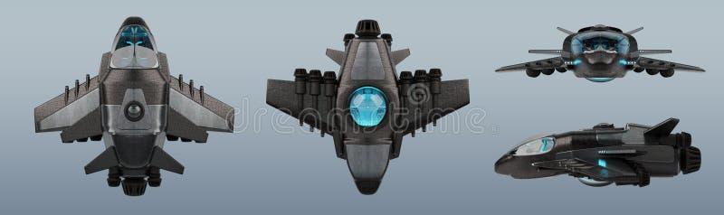 Colección futurista de la nave espacial aislada en el fondo gris 3D ilustración del vector